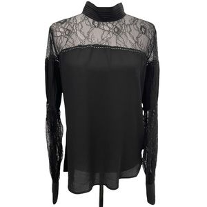 Nasty Gal Black With Lace Long Sleeve Blouse Sz L